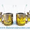 ของพรีเมี่ยม ของที่ระลึกไทย แก้วเป็กคู่ แบบ 10 สีเงินลายทอง