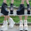 รองเท้าส้นเตารีด ไซต์ 34-38 สีดำ/ขาว