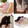 รองเท้าแนวผ้าใบผ้าลูกไม้โปร่งน่ารักๆสีชมพู/ครีม/ดำ ไซต์ 34-43