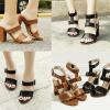 รองเท้าส้นสูงเปลี่ยนแบบการใส่ได้สีน้ำตาล/ดำ ไซต์ 35-40