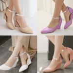 รองเท้าส้นเตารีดปลายแหลมสีม่วง/ชมพู/ขาว/ครีม ไซต์ 34-43