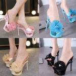 รองเท้าส้นสูงแบบสวมสีชมพู/ดำ/ฟ้า/ครีม ไซต์ 34-40