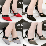 รองเท้าส้นสูง ไซต์ 34-39 สีดำ/แดง/เทา/น้ำตาล