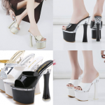 รองเท้าส้นสูง 7.2 นิ้วแบบสวมสีดำ/ขาว/เงิน/ทอง ไซต์ 34-38