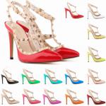 รองเท้าส้นสูงปลายแหลมติดหมุดทอง ไซต์ 34-42 สีดำ/ขาว/แดง/แดงเข้ม/เหลือง/เหลืองเข้ม/เขียว/ชมพูอ่อน/ชมพูเข้ม/ชมพูอมม่วง/ฟ้าเข้ม/ฟ้าอ่อน/ครีม/ส้ม/เทา/ลายเสือ