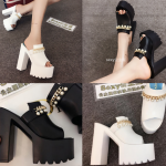 รองเท้าส้นสูงแบบสวมส้นหนาสีขาว/ดำ ไซต์ 34-38