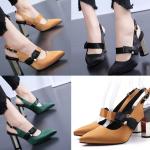 รองเท้าส้นสูงแบบสวยหรูสีเขียว/ส้ม/ดำ ไซต์ 34-39