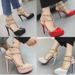 รองเท้าส้นสูง ไซต์ 34-39 สีดำ/ขาว/แดง/ชมพู