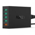 Aukey 54W 5-Ports Wall Charger with AIPower and Quick Charge 2.0(Free USB Cable)