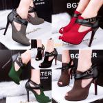 รองเท้าส้นสูง ไซต์ 34-39 สีดำ สีแดง สีเขียว สีเทา สีน้ำตาล