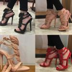 รองเท้าส้นสูงแบบสวยหรูรูปปีกสีแดง/ดำ/นู๊ด ไซต์ 34-42