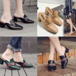 รองเท้าส้นสูง ไซต์ 35-39 มี 2 รุ่น ดำ/ครีม และ ดำ/เขียว