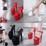 รองเท้าส้นสูง 8 นิ้ว สีแดง/ดำ/ขาว ไซต์ 34-42