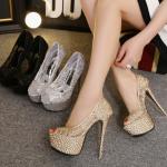 รองเท้าส้นสูง ไซต์ 34-40 สี : ทอง/เงิน/ดำ