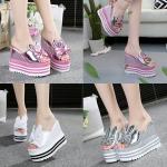 รองเท้าส้นเตารีด ไซต์ 35-39 สีเงิน/ขาว/ชมพู