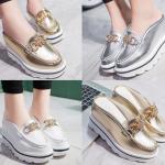 รองเท้าส้นเตารีดแบบสวมสวยเก๋สีเงิน/ทอง/ขาว ไศต์ 35-39