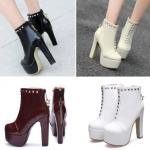 รองเท้าบูทส้นสูง ไซต์ 34-43 สีดำ/ขาว/ครีม/เลือดหมู