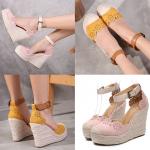 รองเท้าส้นเตารีดแบบน่ารักๆสีชมพู/เหลือง ไซต์ 34-39