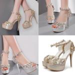 รองเท้าส้นสูง ไซต์ 34-39 สีทอง/เงิน