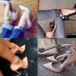 รองเท้าส้นสูงคัดชูปลายแหลมมีสายรัดข้อสีดำ/ขาวหม่น/ครีม/นู๊ด ไซต์ 34-43