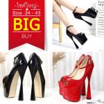 รองเท้าส้นสูง ไซต์ 34-43 สีดำ/แดง