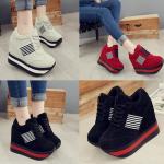 รองเท้าผ้าใบเสริมส้น ไซต์ 35-39 สีดำ สีแดง สีครีม
