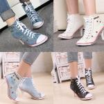 รองเท้าส้นสูง ไซต์ 34-40 สีฟ้าอ่อน ฟ้าเข้ม ขาว ดำ
