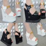 รองเท้าส้นเตารีด ไซต์ 34-38 สีขาว/ดำ