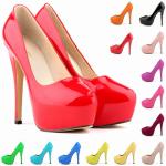 รองเท้าส้นสูงคัดชูหนังเงาสีแดง/ดำ/ขาว/นู๊ด/ฟ้าเข้ม/ฟ้าอ่อน/เหลืองเข้ม/เหลืองอ่อน/ชมพูเข้ม/ชมพูอ่อน/ม่วง/แดงเข้มอมม่วง/เขียว/ส้ม