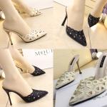 รองเท้าส้นสูงแบบสวมปลายแหลมผ้าปักงานหรู สีครีม/ดำ ไซต์ 34-39