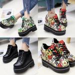 รองเท้าผ้าใบเสริมส้น ไซต์ 35-39 สีแดง/ดำ/ขาว/เขียว