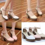 รองเท้าส้นสูงน่ารักๆสีครีม/ขาว/ดำ ไซต์ 34-43