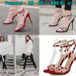 รองเท้าส้นสูงสายไขว้ติดหมุดขาวสีดำ/แดง ไซต์ 35-40