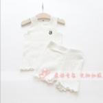 เสื้อ+กางเกง สีขาว แพ็ค 4 ชุด ไซส์ 110-120-130-140
