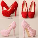 รองเท้าเจ้าสาว ไซต์ 35-39 สีแดง สีชมพู ส้นสูง 8,10,12,14 ซม.