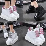 รองเท้าผ้าใบเสริมส้นสีชมพู/ดำ/เงิน ไซต์ 35-39