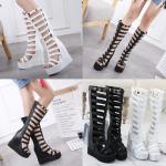 รองเท้าส้นเตารีด ไซต์ 34-39 สีดำ/ขาว