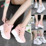รองเท้าผ้าใบเสริมส้น ไซต์ 34-39 สีขาว,ชมพู