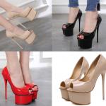 รองเท้าส้นสูงทรงคัดชูเปิดหน้าสีนู๊ด/ดำ/แดง ไซต์ 34-40