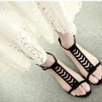 รองเท้าส้นเตี้ย รัดส้นสีดำ แฟชั่นเกาหลีใหม่ล่าสุด