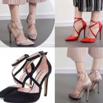 รองเท้าส้นสูงผ้าลินินเรียบแต่หรูสีดำ/แดง/ชมพูนู๊ด ไซต์ 35-40
