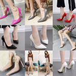 รองเท้าส้นสูงคัดชูปลายแหลมสีนู๊ด/ดำ/แดง/ขาว/ชมพู/เทา