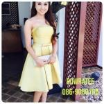 ชุดราตรีสั้นงานผ้าไหมสีเหลืองทอง