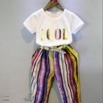 เสื้อ+กางเกง สีขาว E8077 แพ็ค 5ชุด ไซส์ 7-9-11-13-15