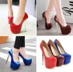 รองเท้าส้นสูง ไซต์ 34-43 สีแดง/น้ำเงิน/แดงเลือดหมู