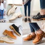 รองเท้าหนังหุ้มส้นแบบน่ารักๆสีน้ำตาล/ครีม/ดำ ไซต์ 34-43