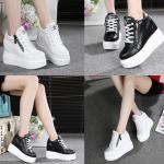 รองเท้าผ้าใบหนังเสริมส้นสีขาว/ดำ ไซต์ 35-39