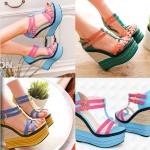 รองเท้าส้นเตารีด ไซต์ 34-39 สีฟ้า สีเหลือง สีเขียว (รองเท้าส้นตึก)
