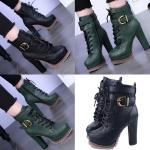 รองเท้าบูทสีเขียว/ดำ ไซต์ 34-38