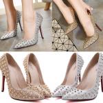 รองเท้าส้นสูงปลายแหลมปักหมุดสีทอง/เงิน ไซต์ 35-40